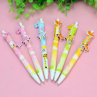 6pcs Giraffe School Office Supply Ballpens Kid Toy Cute Cartoon Writing Pen