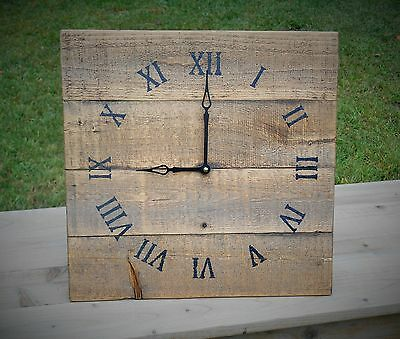 Reclaimed Wood Wall Clock, Medium Brown Stain w/ Black Arms and Roman Numerals