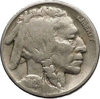 1929 BUFFALO NICKEL 5 Cents of United States of America USA Antique Coin i43737