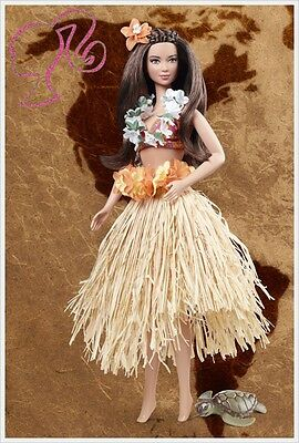 Barbie Hawaii Dolls Of The World Mint 2012 Collection Pink Label Rare Hula Turtl