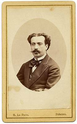 CDV Palermo Portrait of identified nobleman Dedied & signed 1870c Lo Forte S325