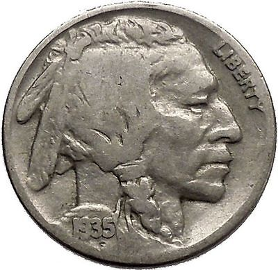 1935 BUFFALO NICKEL 5 Cents of United States of America USA Antique Coin i43779