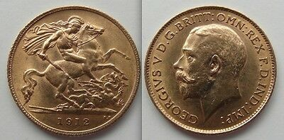 Nice Collectable Gold Half Sovereign 1912 coin - George V .. George / Dragon