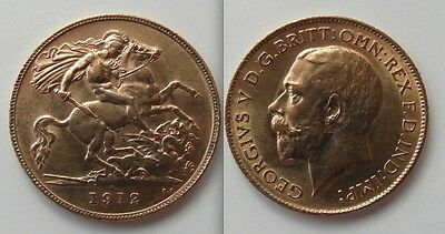 Collectable Gold Half Sovereign 1912 coin - George V .. George / Dragon