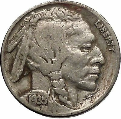 1935 BUFFALO NICKEL 5 Cents of United States of America USA Antique Coin i43781