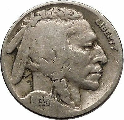 1935 BUFFALO NICKEL 5 Cents of United States of America USA Antique Coin i43798