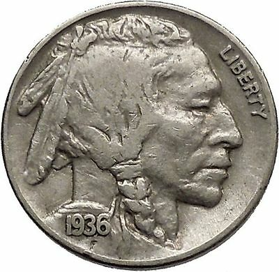 1936 BUFFALO NICKEL 5 Cents of United States of America USA Antique Coin i43804
