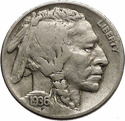 1936 BUFFALO NICKEL 5 Cents of United States of America USA Antique Coin i43819