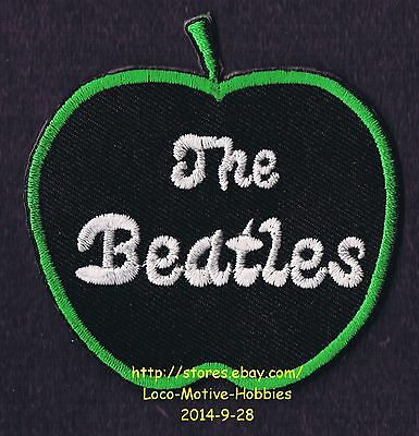 LMH PATCH Badge  THE BEATLES  Music Label Green APPLE Records Shape Black Ironon