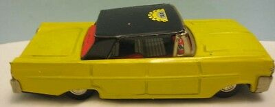 """Unusual Old Tin Friction Toy Car Yellow Taxi Cab 6  1/2"""" Ford Japan 1950s"""