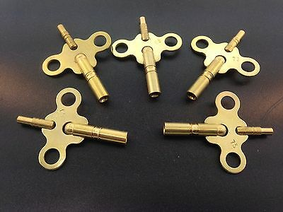 Brass Double End Clock Key Set of 5 Most Popular Sizes