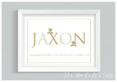 Personalised A4 Nursery Name Print: Christening Gift, Baby Gift, Nursery Decor