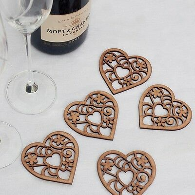 Bespoke Rustic Wooden Love Heart Wedding Favours Decorations Vintage Invitations