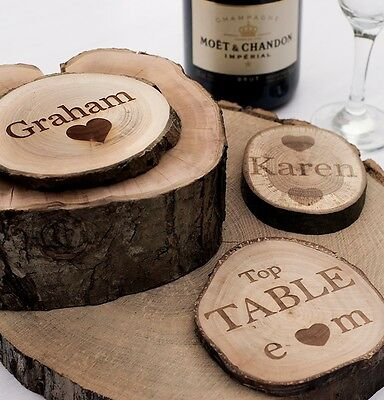 Personalised Rustic Log Slices, Coasters. Vintage Wedding Favours or Place Names