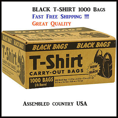 Black T-Shirt Thank You Plastic Grocery Store Shopping CarryOut Bag 1000ct