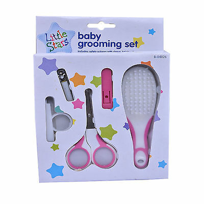 Baby New Born 1st Years Hair Nail Grooming Essential Set Kit Brush Scissors PINK