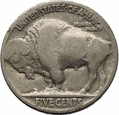 1937 BUFFALO NICKEL 5 Cents of United States of America USA Antique Coin i43883