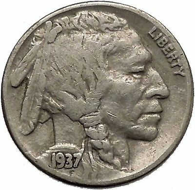 1937 BUFFALO NICKEL 5 Cents of United States of America USA Antique Coin i43884