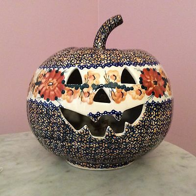 Genuine UNIKAT Polish Pottery Large Jack O Lantern Tea Light! Vincenza Pattern!