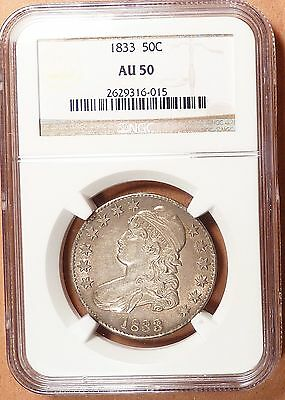 1833 Capped Bust Half Dollar NGC graded AU50, Lots of Detail, For Type/ Date