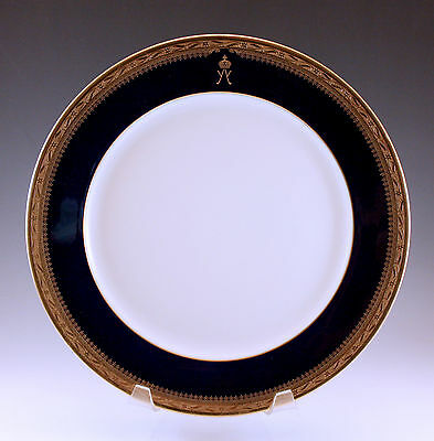 1950's Hutschenreuther Cobalt And Gold Dinner Plate Arms, Very Unusual