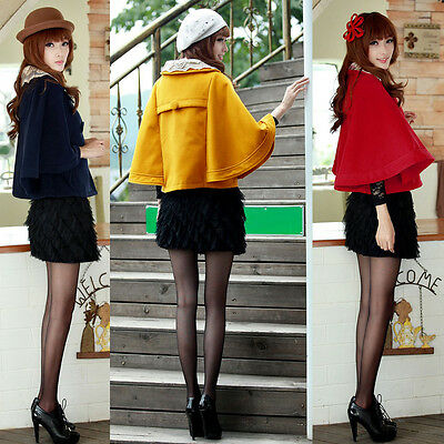 Womens Lace Double Breasted Collar Batwing Sleeve Cloak Short Cape Coat S M L XL