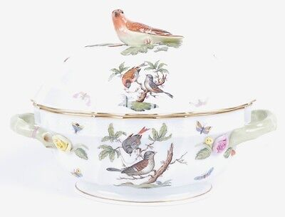 HEREND ROTHSCHILD BIRD COVERED OVAL TUREEN WITH BIRD FINIAL-1014/RO