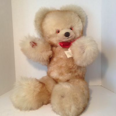 """Vintage Jointed Teddy Bear Real Fur Bell And Bell England Leather Pads&Nose 24"""""""