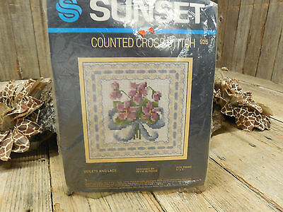 Sunset Counted Cross Stitch Violets and Lace Needlepoint Kit 925