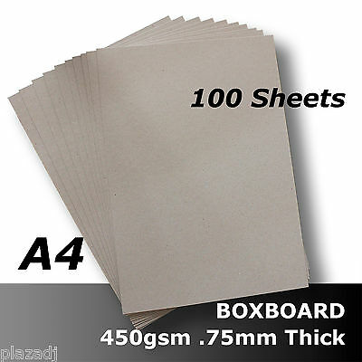 100 x BoxBoard Backing Card 450gsm .75mm A4 Grey ReCycled Acid Free #B1208