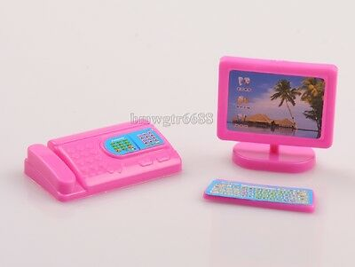 Dolls Accessories Play House Computer + Fax Machine 2 PCS Per Set Cute Play Toy