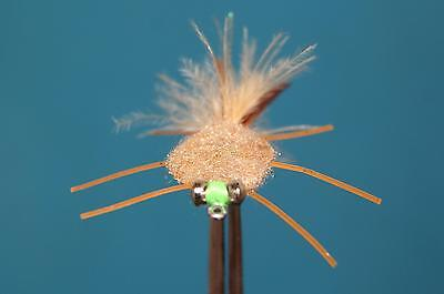 4 QTY CRAB RAG HEAD TAN Fly Fishing Flies size 4&6