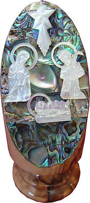 Nativity Scene Silver Plated Mother Of Pearl Figurine On Olive Wood Base