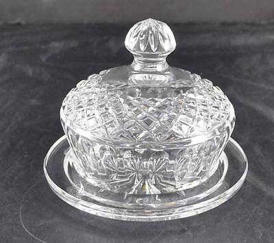 Vintage Clear Glass Crystal Handled Dome Covered Butter Or Cheese Dish