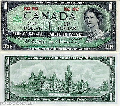 CANADA 1 Dollar Banknote World Money Currency UNC BILL Note p84a 1967 Queen