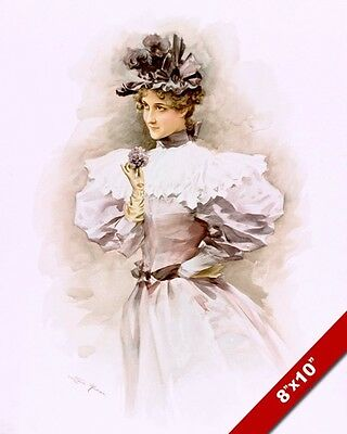 Young Beautiful Woman In Vintage Dress Oil Painting Art Real Canvas GicleePrint
