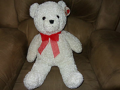 """TEDDY BEAR  24"""" White PLUSH with red bow by SKM  Plush Toys: New"""