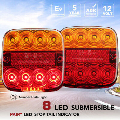 Pair LED Tail Trailer Lights Stop Indicator Submersible 99AR Square 12V