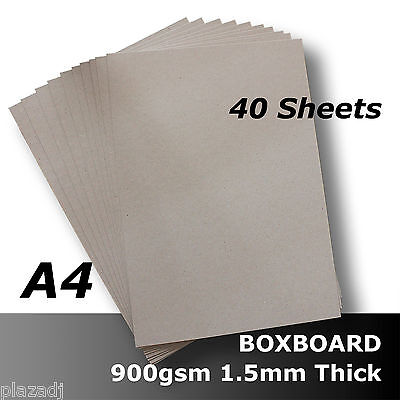 40 x BoxBoard Backing Card ChipBoard 900gsm 1.5mm A4 100% ReCycled #B1508