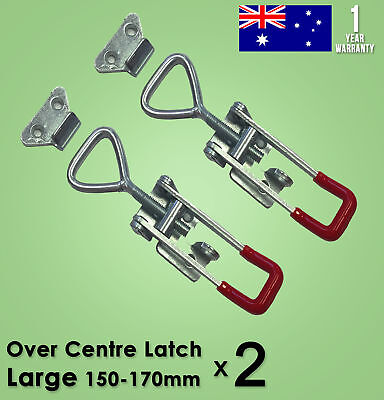 2x LARGE OVER CENTRE LATCH Trailer Toggle Fastener UTE 4WD Lock Zinc Plate Truck
