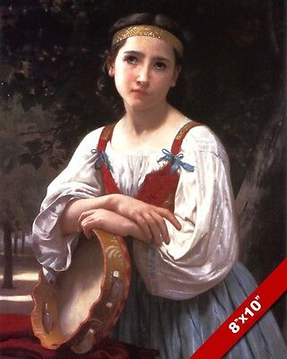 ALLEGRA OR MIRTH YOUNG WOMAN W TAMBORINE MUSIC PAINTING ART REAL CANVAS PRINT