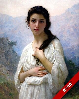 1fb8017be91 Young Brunette Girl Woman In White Dress Painting Art Real Canvas Giclee  Print