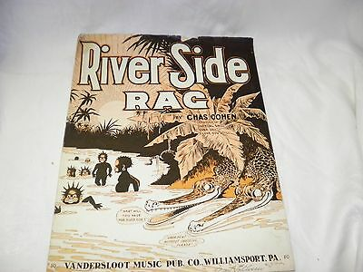 1911 RIVER SIDE RAG SHEET MUSIC BY CHAS. COHEN BLACK AMERICANA