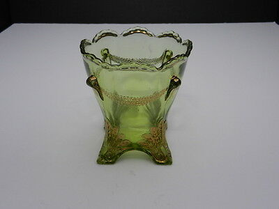 "Jefferson Glass Swag & Brackett Open Sugar Green w Gold Trim 4 1/4"" T ca 1903"