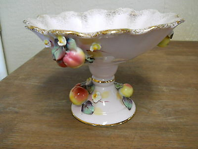 Compote Applied Fruit Pink Gold Porcelain Signed Jas L Lefton AS IS