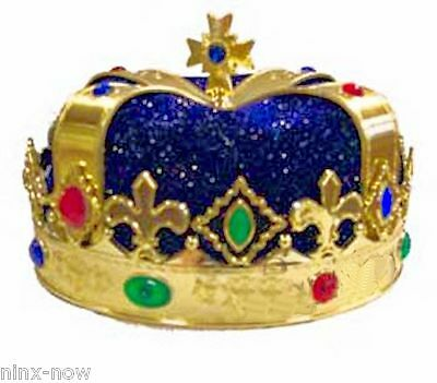 Blue Royal Crown King Queen Prince Costume Medieval Renaissance Accessory Adult