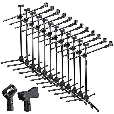 12pcs Microphone 360-degree Rotating Stand 2 Mic Mount Boom Folding Type Tripod