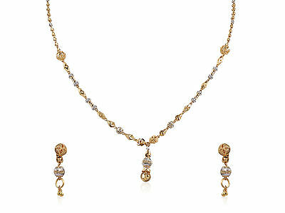Gorgeous Bridal Necklace Earrings Set In Solid Certified 22K Fine Yellow Gold