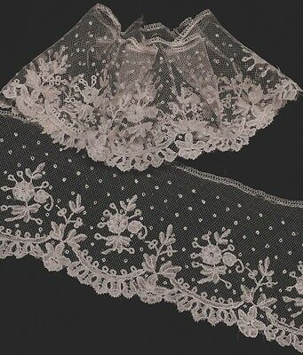 """37x4"""" ANTIQUE BRUSSELS ROSE POINT LACE TRIM EDGING DRESS CUFFS SLEEVES VINTAGE"""