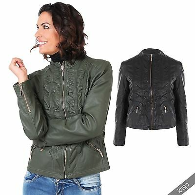 Womens Ladies Soft PU Leather Ruched Zipped Biker Jacket Coat Plus Size 18-24